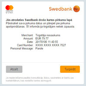 Internet shopping swedbank after successful confirmation of the purchase you will be redirected back to the merchants website reheart Gallery